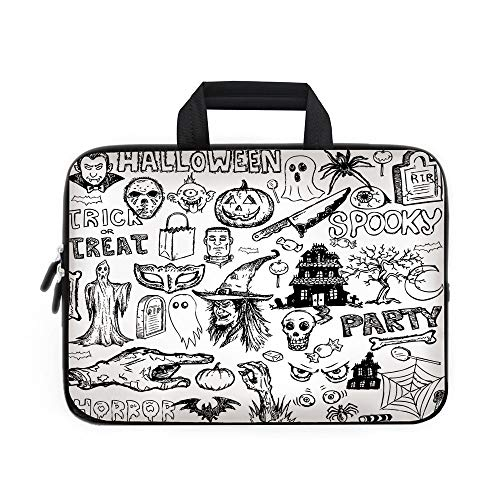 Vintage Halloween Laptop Carrying Bag Sleeve,Neoprene Sleeve Case/Hand Drawn Halloween Doodle Trick or Treat Knife Party Severed Hand Decorative/for Apple Macbook Air Samsung Google Acer HP DELL -