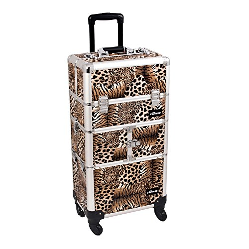 Sunrise I3664LPBR Leopard 3 Tiers Accordion Trays 4 Wheels Professional Rolling Aluminum Cosmetic Makeup Craft Storage Organizer Case and Multiple Expandable Trays by SunRise