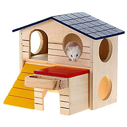 Rat House Wooden Hamster Ladder Pet Small Animal Rabbit Mouse Hideout Luxury Home 2 Storey Platform Playhouse Nest (Luxury Box Ladder)
