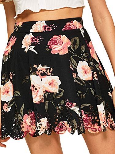 SheIn Women's Basic Solid Flared Mini Skater Skirt XX-Large Floral Black#1
