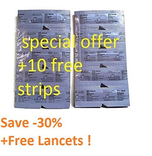 100 Precision Xtra Blood Glucose Test Strip+10 strips for free+50 lancets