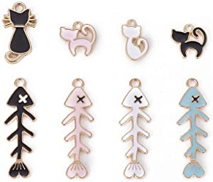 Pandahall 40pcs Cat and Fish Alloy Enamel Pendants Light Gold Charms for Jewelry Making Colorful Dangle Earrings Finding Banana & Apple & Watermelon & Strawberry & Pineapple & Pear
