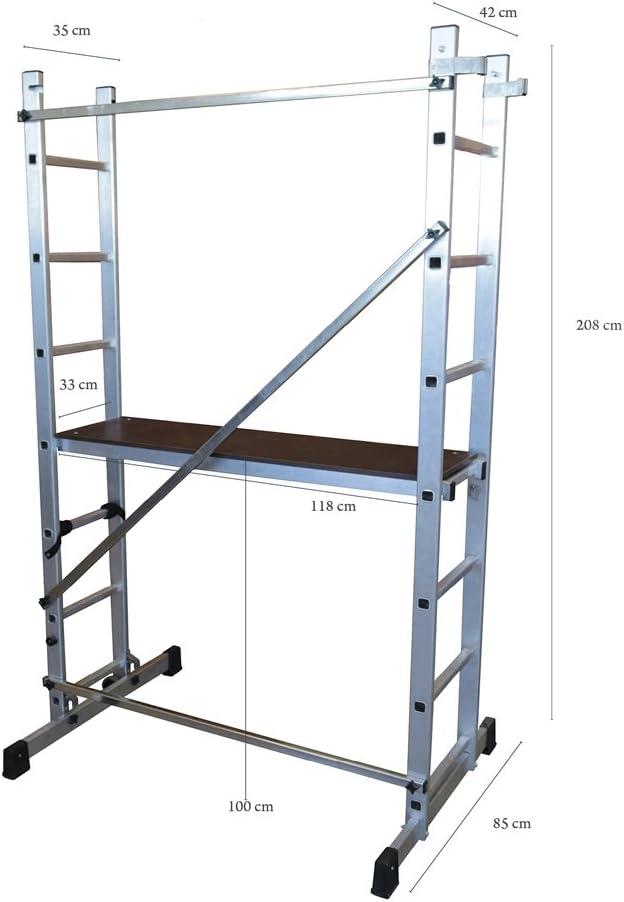 ALTIPESA Escalera - andamio Profesional de Aluminio 2x7 peldaños ...