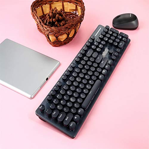 Kybers New N520 Hand Punk Mechanical Wireless Keyboard Mouse Set with USB Receiver Round Key Cap Ergonomic Wrist Rest for Computer Notebooks Desktops ()