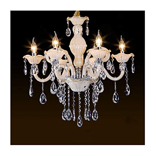 Yxx max Pendant Lights Chandelier European Crystal Candles E14 Ceiling Lamp Living Room Decor Bedroom Dining Table Hotel Pendant Light [Energy Class A ++] (Size : 6 Heads)