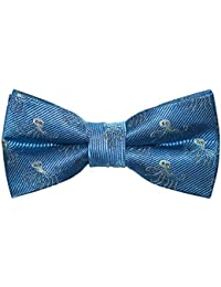 SummerTies Octopus Kids Bow Tie - Blue, Woven Silk, Pre-Tied Kids Bow Tie