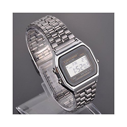Amyove Silver Large LED LCD Digital Vintage Stainless Steel Band Retro Watch (Digital Silver Wrist Watch)