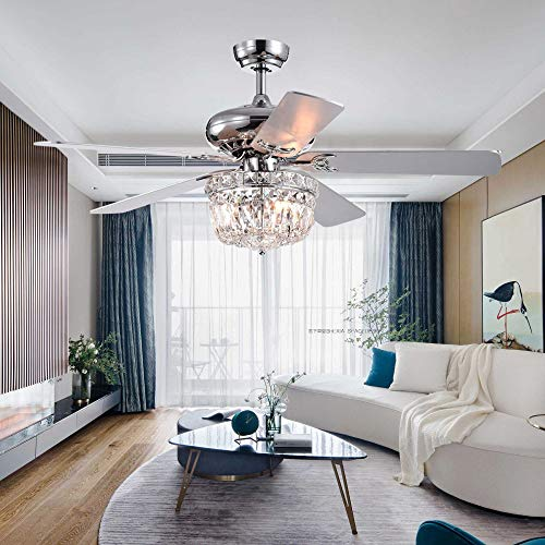 LuxureFan 52Inch Crystal Chrome Ceiling Fan with Light Gorgeous Crystal 3 Lights 5 Premium Wood Blade Led Chandelier Decoration Home Living Room with Remote Control Chrome