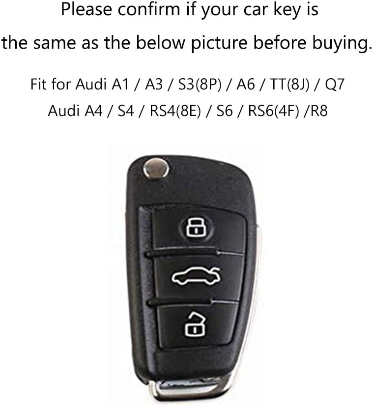 ontto Car Key Case for Audi Leather Zinc Alloy Protective Key Cover for Audi A1 A3 A4 A6 Q3 Q5 Q7 S3 R8 TT 3 button Folding Emtry Flip Key Case Keyring Shell Key fob Black Red