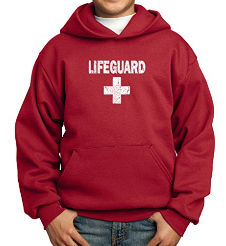 Sweatshirt Distressed Kids - Kids Distressed Lifeguard Youth Hoodie, Red, XL