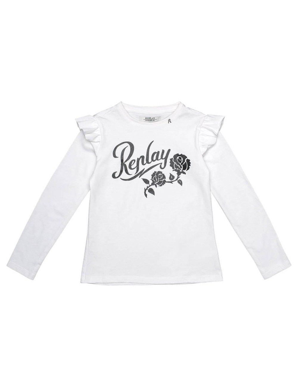 Replay Girls White Longsleeved T-Shirt With Ruffle Detail in Size 10 Years White