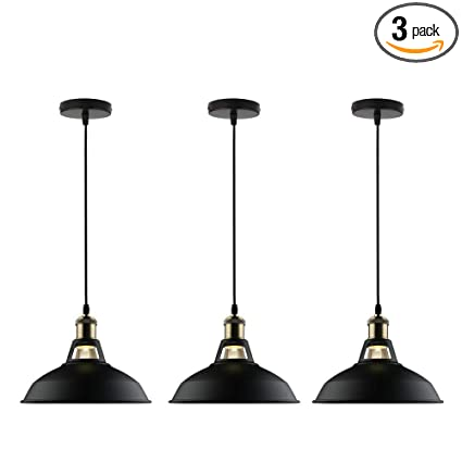 GALYGG Black Industrial Pendant Lighting, Metal Shade Ceiling ...