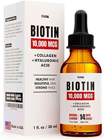 Biotin 10000 mcg - Hair Growth Vitamins - Includes Collagen and Hylauronic Acid - Organic and Natural Skin and Nails Vitamins - Liquid Oil Drops Against Hair Loss