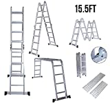 Idealchoiceproduct 15.5' Heavy Duty Gaint Aluminum Multi Purpose Folding Ladder Scaffold Ladders with 2 Platform Plates- 330Lbs