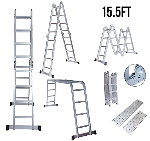 Idealchoiceproduct 15.5' Heavy Duty Gaint Aluminum Multi Purpose Folding Ladder Scaffold Ladders with 2 Platform Plates- - Multi Ladder Purpose Folding