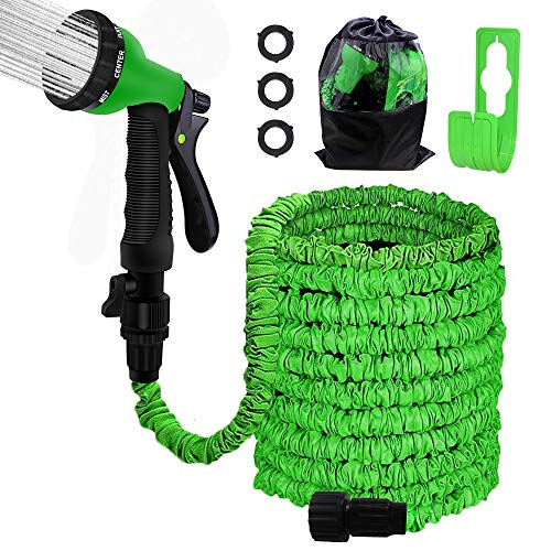 """Agichose 75FT Garden Hose Reel Wall Mount Expandable 3 Times TPE Super-Strength High Pressure Flexible Water Hose with 3/4"""" Solid Fittings Comes with Free Hose Hook."""