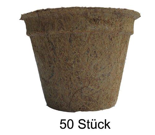 Pflanztöpfe aus Kokosfaser 3,0 Liter (Höhe 14 cm/ Ø oben 21,5 cm), 50 Stück (Preis je Stück: 2,59 Euro), Kokostöpfe, Anzuchttöpfe, Aussaattöpfe, Naturmaterial