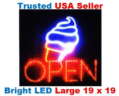 Large Open Ice Cream Cone Yogurt Signs Led Neon Business Motion Light Sign   Animated On/off, Power On/off, with Chain 19*19*1 Blt308