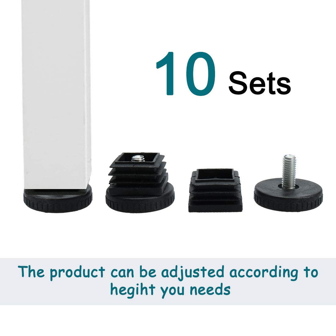 uxcell Leveling Feet 30 x 30mm Square Tube Inserts Kit Furniture Glide Adjustable Leveler with Nuts for Table Sofa Chair Leg 10 Sets