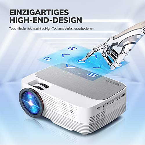 VicTsing Wifi Projector 5000Lux Screen Mirroring, Portable Projector Wireless, 1080P Supported, 200'' Display Compatible with TV Stick, HDMI, VGA, PS4, Laptop etc