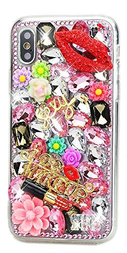 STENES iPhone Xs Max Case - Stylish - 3D Handmade [Sparkle Series] Bling Lips Lipstick Flowers Design Cover Case for iPhone Xs Max 6.5 inch - Pink ()