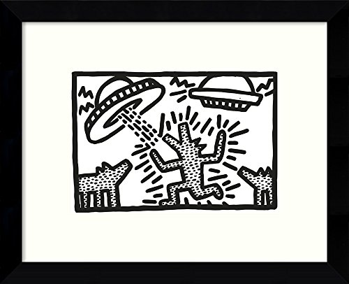 Framed Wall Art Print Untitled, 1982 (Dogs with UFOs) by Keith Haring 10.88 x 8.88 (1982 Poster Print)