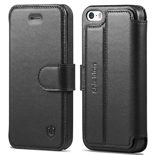 iPhone 5/5S/SE Case, SHIELDON iPhone 5 Wallet Case Genuine Leather Slim Fit Book Design Magnetic Folio Flip Cover with Kickstand & Credit Card Slots for iPhone 5/5S/SE - Black