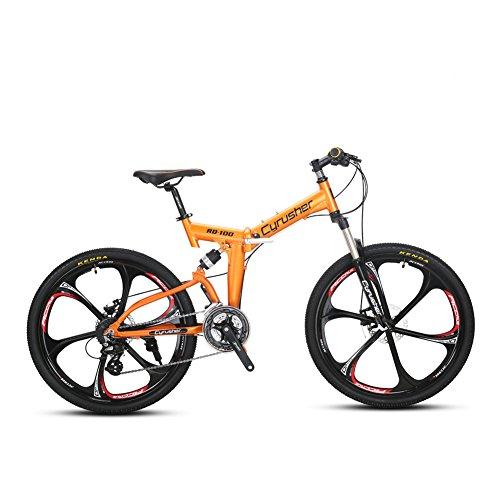 Cyrusher RD100 Orange Mans and Womans Folding Mountain Bike 17inch X 26 inch Folding Bicycle Shimano 24 Speeds Double Disc Brakes For Sale