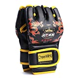 Cheerwing Half Finger Boxing Gloves MMA UFC Sparring Grappling Fight Punch Ultimate Mitts Leather Gloves (Dragon-Black)