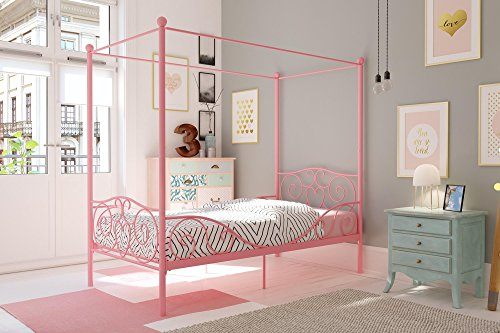 - DHP Canopy Bed with Sturdy Bed Frame, Metal, Twin Size - Pink