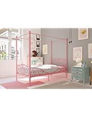 DHP Canopy Metal Bed Frame, Twin Size, Pink