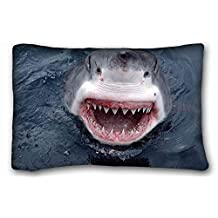 Generic Personalized ( Animals shark teeth jaws ) Custom Cotton & Polyester Soft Rectangle Pillow Case Cover 20x30 inches (One Side) suitable for King-bed PC-Bluish-33587