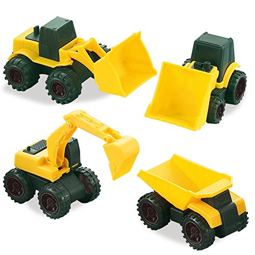 Road Repair Construction Vehicles, Set of 4 Trucks Include: A Bulldozer, 2 Front Wheel Tractors, and a Dump Truck (Plastic Tractor)