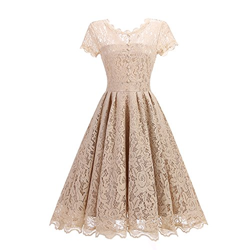 SOVIYAS Womens Retro Floral Lace Cap Sleeve Vintage Swing Bridesmaid Dress,Champagne,Large