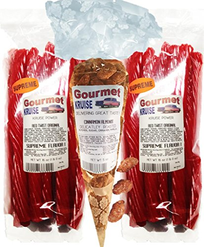 Red Licorice Original Twist 2-1lb Bags (1) Almonds Cinnamon Roasted Delicately 5OZ (NET WT 37 OZ) Gourmet Kruise Signature Gifts