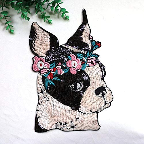 - SMALL-CHIPINC - New Big garland puppy Embroidery lace applique paillette fabric sweater clothes patch sequined stickers t-shirt diy decoration