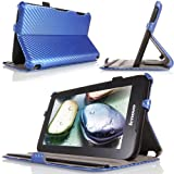 MoKo Slim-Fit Multi-angle Folio Cover Case for Lenovo IdeaTab A1000 7-Inch Android Tablet, Carbon Fiber BLUE