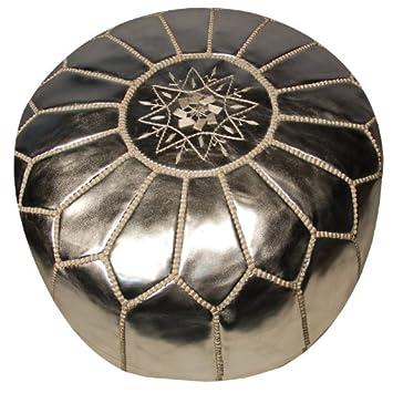 Amazon.com: Ikram Design Round Moroccan Leather Pouf: Kitchen & Dining