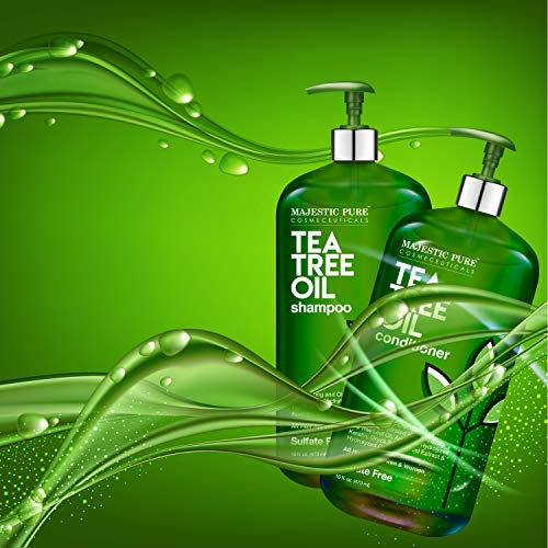 MAJESTIC PURE Tea Tree Shampoo and Conditioner Set for Men and Women -16 fl oz each - Hydrating and Fighting Dandruff, Lice and Itchy, Irritating or Dry Scalp - For All Hair Types - Sulfate Free