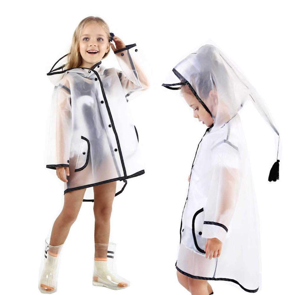 Kids Boy Girl Raincoat Rain Jacket Transparent Lightweight Rainwear Rain Slicker