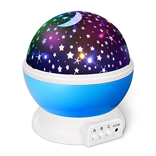 Comforzone [UPGRADED] Baby Night Lights Projector Lamp, Starry Stars Moon Night Light for Sleep Aid, 360 Degree Rotating Ceiling Projector Lamp & 9 Colors modes for Kids, Babies, Children, Adults by by Comforzone