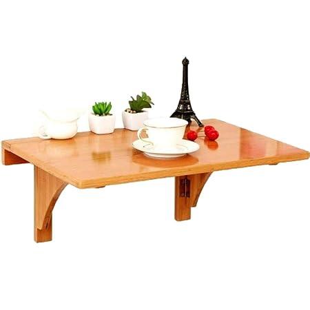 Mesa de hoja abatible de bambú natural, mesa plegable de cocina y ...