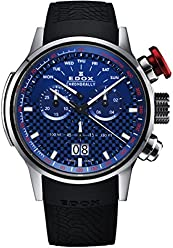 Edox Mens Chronorally 48mm Black Rubber Band Titanium Case Quartz Blue Dial Analog Watch 38001 TIN