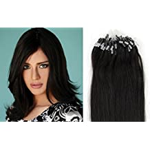 20 inch Easy Loop Micro Rings Beads Tipped Remy Human Hair Extensions Straight color 1B-off black/natural black/50g/100s