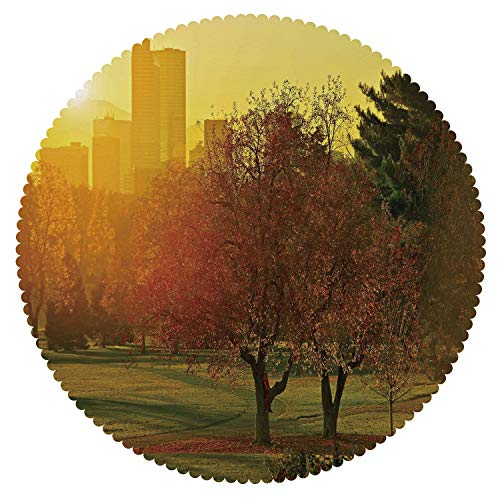 iPrint Cool Round Tablecloth [ Nature,Sunset Over The City Park Colorado Skyline Autumn Theme Scenic Picture,Fern Green Dark Orange ] Fabric Kids Home Tablecloth Designs