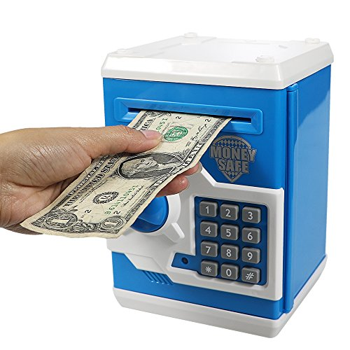 - HUSAN Great Gift Toy for Kids Code Electronic Piggy Banks Mini ATM Electronic Save Money Coin Bank Box for Children Password Lock case (Blue)