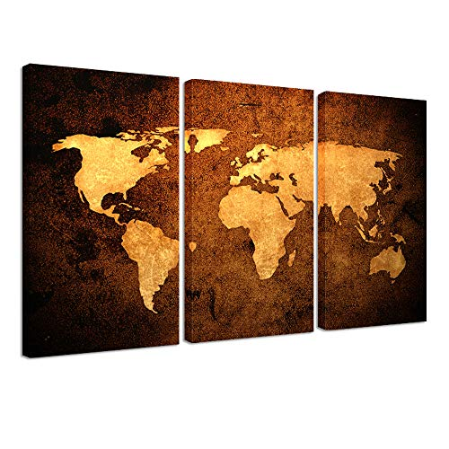 Kreative Arts Vintage World MAP - Premium Canvas Art Print - Large Abstract Wall Art Deco - Canvas Picture Stretched on Wooden Frame As Modern Gallery Artwork Canvas Set of 3 59''x36'' (Deco Canvas Art Print)