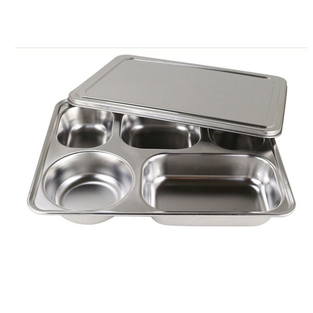 Stainless Steel Bento Box, Divided Dinner Trays With Cover, 1 Set - 5 Sections