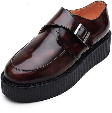 creeper cuir marron chaussure femme