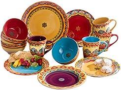 Euro Ceramica Galicia Collection Andalusian-Inspired 16 Piece Ceramic Dinnerware Set Vibrant Assorted Patterns  sc 1 st  Amazon.com & Amazon.com: Purple - Dinnerware Sets / Dining \u0026 Entertaining: Home ...